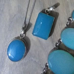 SKY BLUE CHALCEDONY gemstone set Silver pendant
